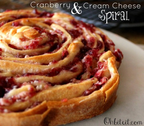 Cranberry and Cream Cheese Spirals
