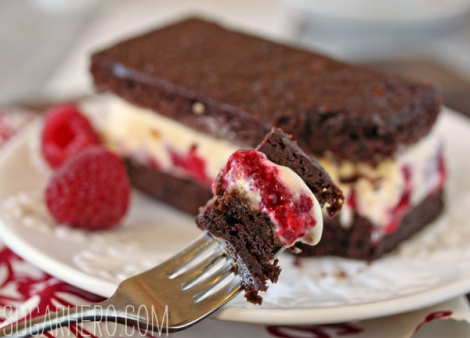 Brownie Raspberry Ice Cream Sandwiches