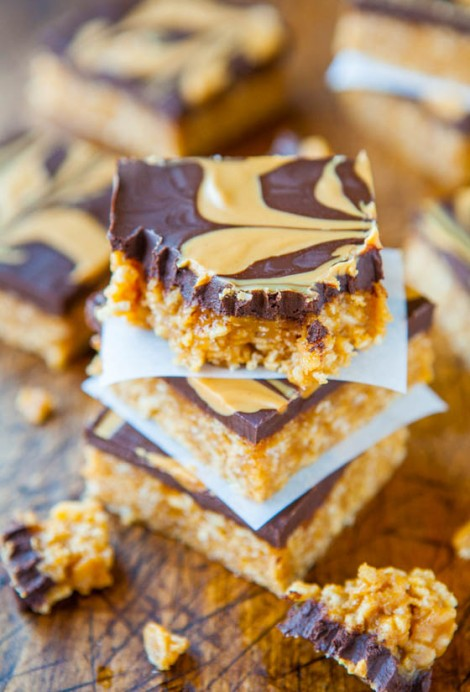 Chewy Peanut Butter and Chocolate Cereal Bars