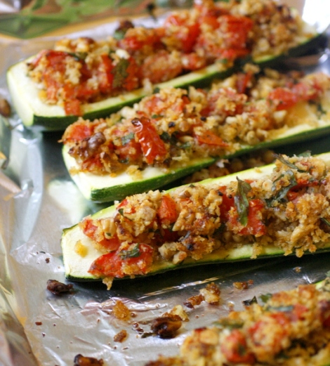 Herb stuffed zucchini