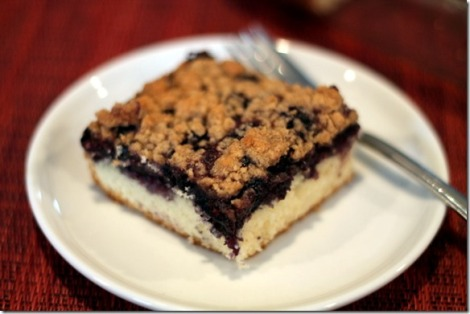 Struesal Topped Wild Blueberry Coffee Cake